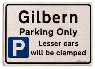 Gift for Gilbern car owner | New Parking only Sign | Metal face Brushed Aluminium